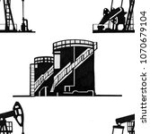 seamless drawing of oil... | Shutterstock . vector #1070679104