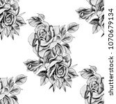 seamless pattern rose with... | Shutterstock . vector #1070679134