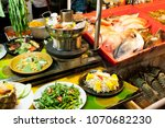 colored fish at a street food...   Shutterstock . vector #1070682230