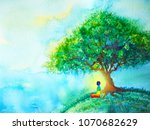 7 color chakra human lotus pose ... | Shutterstock . vector #1070682629