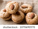 almond cookies on sack  ... | Shutterstock . vector #1070690570