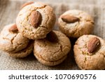 almond cookies on sack  ... | Shutterstock . vector #1070690576