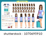tourist female  vacation... | Shutterstock .eps vector #1070695910