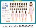 pretty female office employee...   Shutterstock .eps vector #1070696558