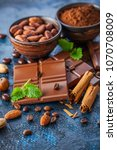 chocolate pieces crushed and... | Shutterstock . vector #1070708009