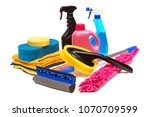 Stock photo tools for car wash and clean consisting of sponge duster brush chemical microfiber brush 1070709599