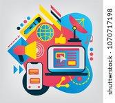 mass media flat illustration.... | Shutterstock .eps vector #1070717198