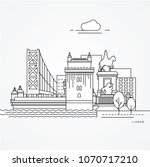linear illustration of lisbon ... | Shutterstock .eps vector #1070717210