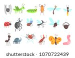 cute friendly insects set with... | Shutterstock .eps vector #1070722439