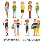 vector set of young people | Shutterstock .eps vector #1070729306