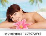 pretty brunette is resting at a ... | Shutterstock . vector #107072969