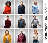 group of mixed people  women... | Shutterstock . vector #1070736314