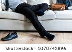 asian businessman taking break... | Shutterstock . vector #1070742896
