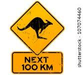 roadsign kangaroos next 100 km  ... | Shutterstock .eps vector #107074460