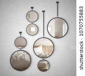 Stock photo round mirrors hanging on the wall reflecting interior design scene minimalist scandinavian bedroom 1070755883