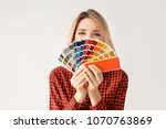 young woman with color palette... | Shutterstock . vector #1070763869