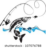 pike  spinning  reel and... | Shutterstock .eps vector #107076788