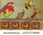 bugs running away from an... | Shutterstock .eps vector #1070775809