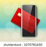 smartphone   credit card banner.... | Shutterstock . vector #1070781650