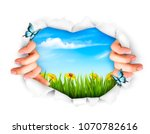 nature background with hands... | Shutterstock .eps vector #1070782616