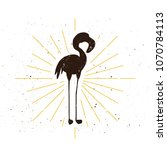 retro flamingo silhouette icon. ... | Shutterstock .eps vector #1070784113