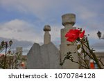 red rose and old ottoman... | Shutterstock . vector #1070784128