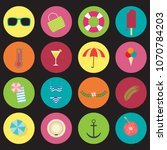 summer icons set in flat style... | Shutterstock .eps vector #1070784203