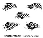 Set Of Checker Racing Flags In...