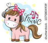 cute cartoon horse with... | Shutterstock .eps vector #1070804939