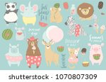 cute animals charachters... | Shutterstock .eps vector #1070807309