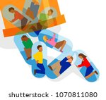 people trapped inside pill... | Shutterstock .eps vector #1070811080