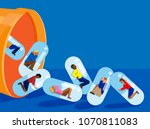 people trapped inside pill... | Shutterstock .eps vector #1070811083