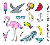 summer stickers set isolated on ...   Shutterstock . vector #1070812574