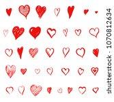 big set of doodle red hearts ...   Shutterstock . vector #1070812634