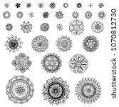 set of stylized floral doodle...   Shutterstock . vector #1070812730