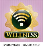 shiny badge with wifi signal... | Shutterstock .eps vector #1070816210