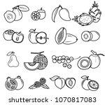 fruit icon set vector draw...   Shutterstock .eps vector #1070817083