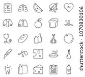 thin line icon set   cheese... | Shutterstock .eps vector #1070830106