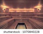 big wooden sauna without people ... | Shutterstock . vector #1070840228
