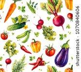 vegetables. set of watercolor... | Shutterstock . vector #1070840606