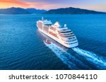 Cruise Ship At Harbor. Aerial...