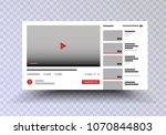 youtube . vector browser... | Shutterstock .eps vector #1070844803