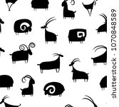 goats and rams  seamless... | Shutterstock .eps vector #1070848589