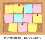note paper on cork board.... | Shutterstock . vector #1070863040