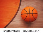 basketball ball laying on... | Shutterstock . vector #1070863514