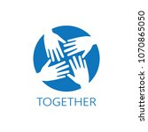 four hands together icon logo... | Shutterstock .eps vector #1070865050