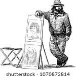 A Street Artist Waiting His...