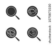 frying pans glyph icons set.... | Shutterstock .eps vector #1070873330