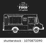 food truck sketch vector... | Shutterstock .eps vector #1070873390