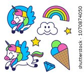 icons elements set in sticker... | Shutterstock .eps vector #1070874050